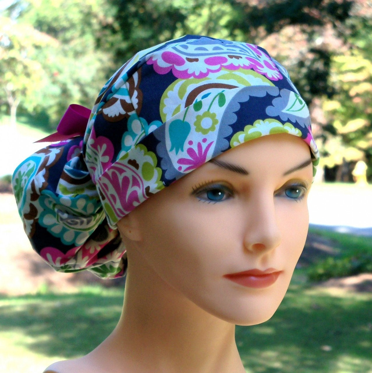 The Perfect Fit Ponytail Scrub Hat Original Design Best Fit Ever Pony Pouch-Boho With TEAL RIBBON - thehatcottage
