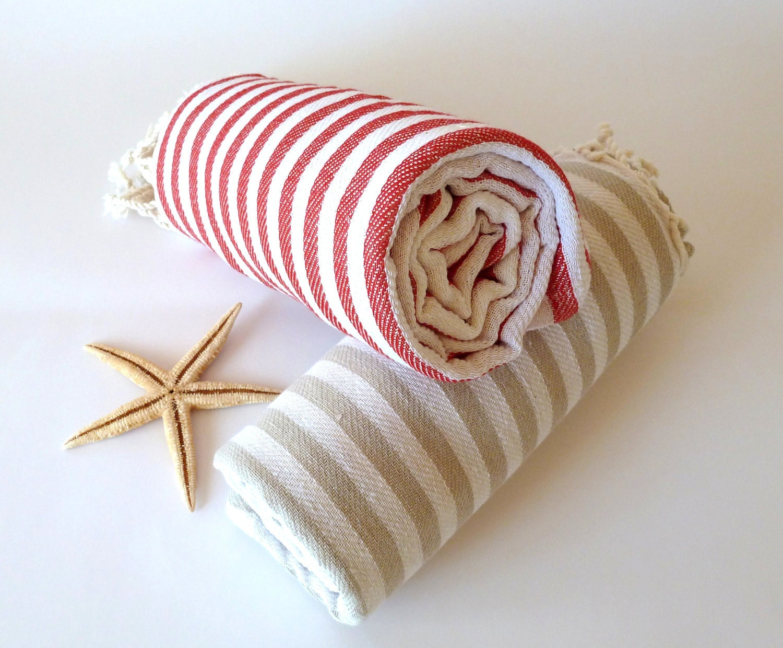 SALE, Turkish Towel, Peshtemal, Bath, Beach towel, Hammam towel, Spa Towel, yoga, Set of 2 towels,  Light Brown and Red - TheAnatolian