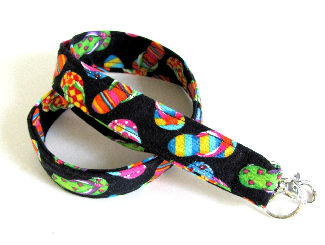 Fabric ID Badge Lanyard Summer Flip Flops Cotton Back to School Teacher Key Lanyard Girls Women Black Rainbow Beach Sandals