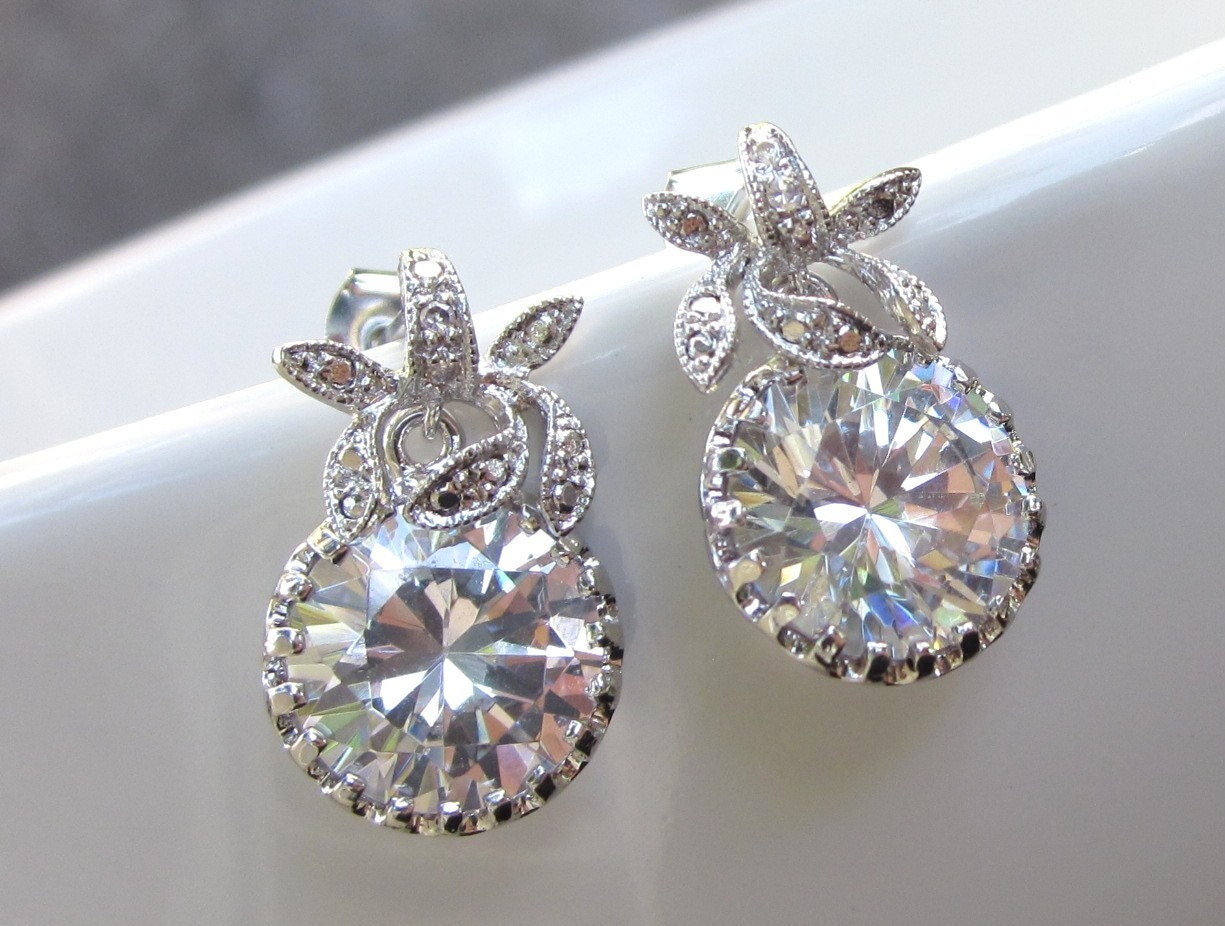 Small rhinestone bridal earrings, wedding jewelry, leaf design, round dangle drops, cubic zirconia - Promise