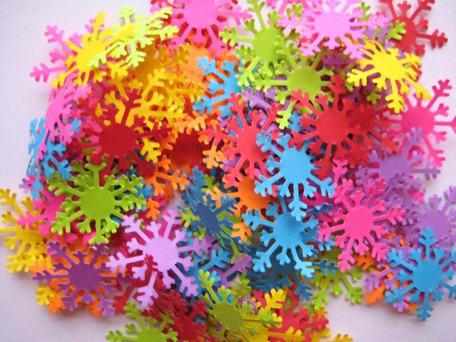 100 Bright Arctic Snowflake punch die cut scrapbook confetti embellishments noE1293