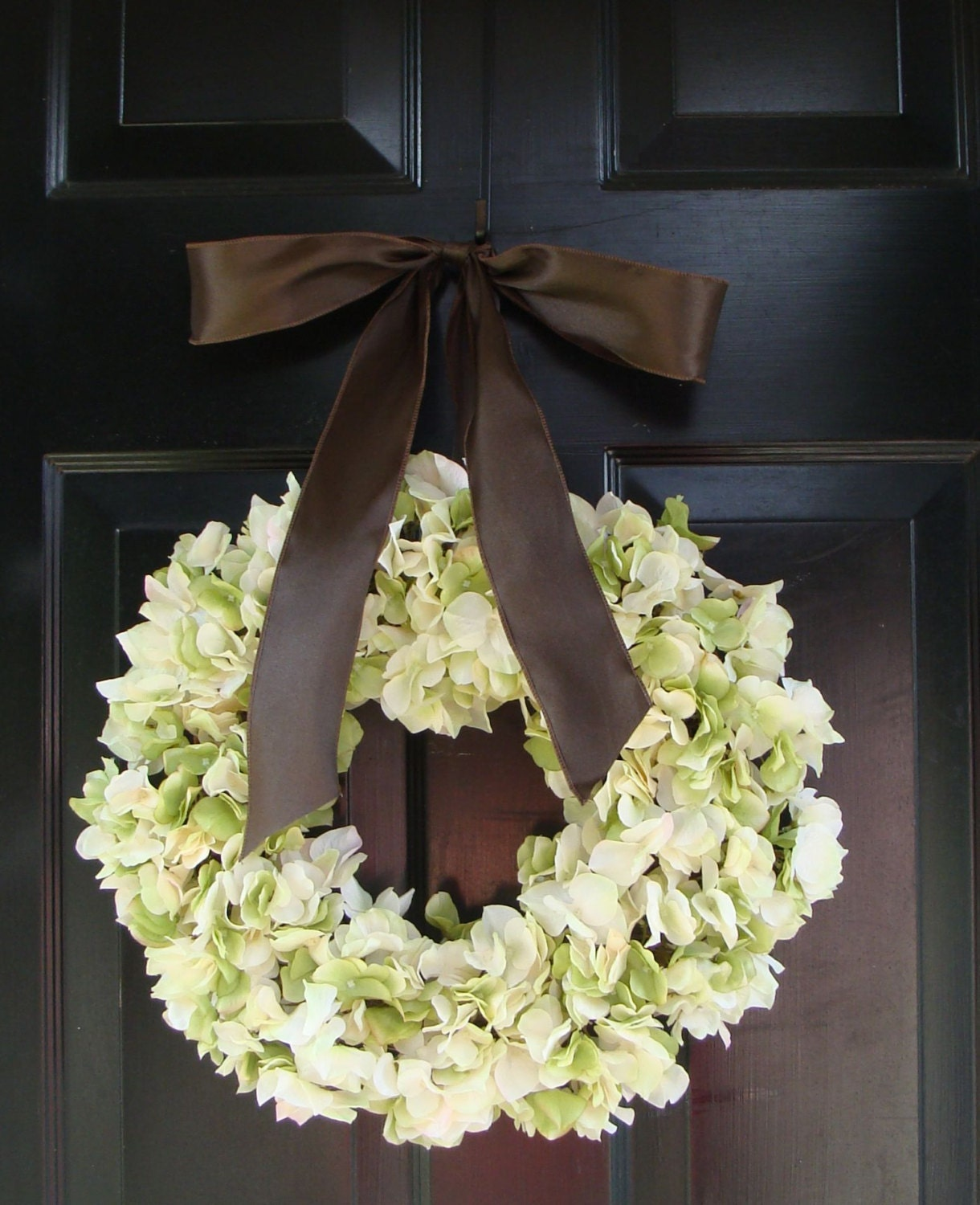 Hydrangea Wreath- Green Hydrangea Wreath Satin Ribbon- Spring Wreath- Girls Room Decor- Wall Art- Hydrangea Door Wedding Wreath