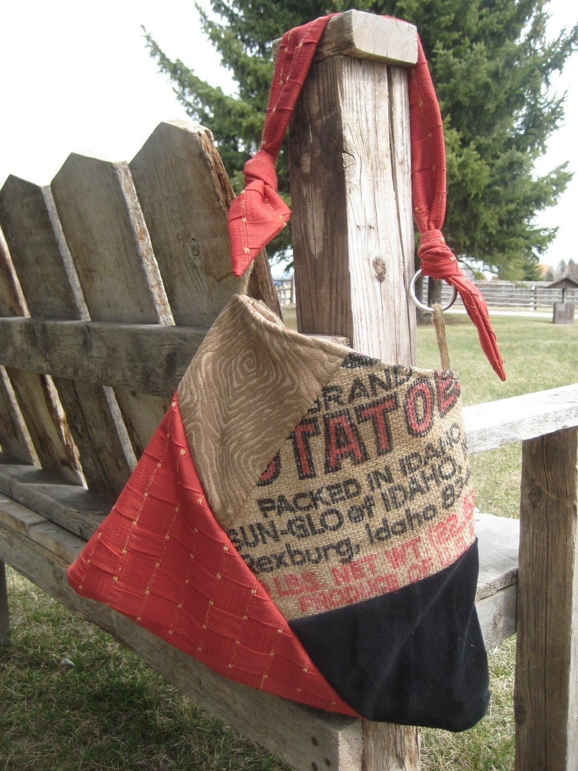 MELISSA Handbag Pattern, with free instructions on how to sew with a burlap potato sack - PDF Download