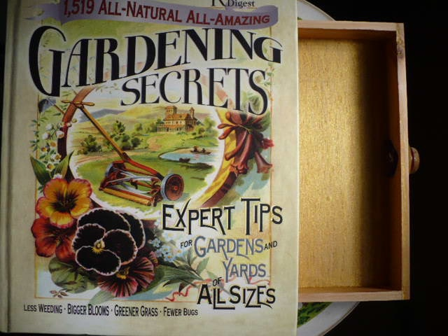 Secret Compartment Safe Book - with Wood Box - Note Card Set - Garden Journal - Tea Chest