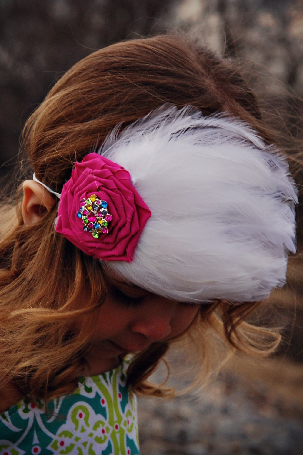 Feather Headband Girls Ladies Fabric Rose Rhinestone . FREE SHIPPING