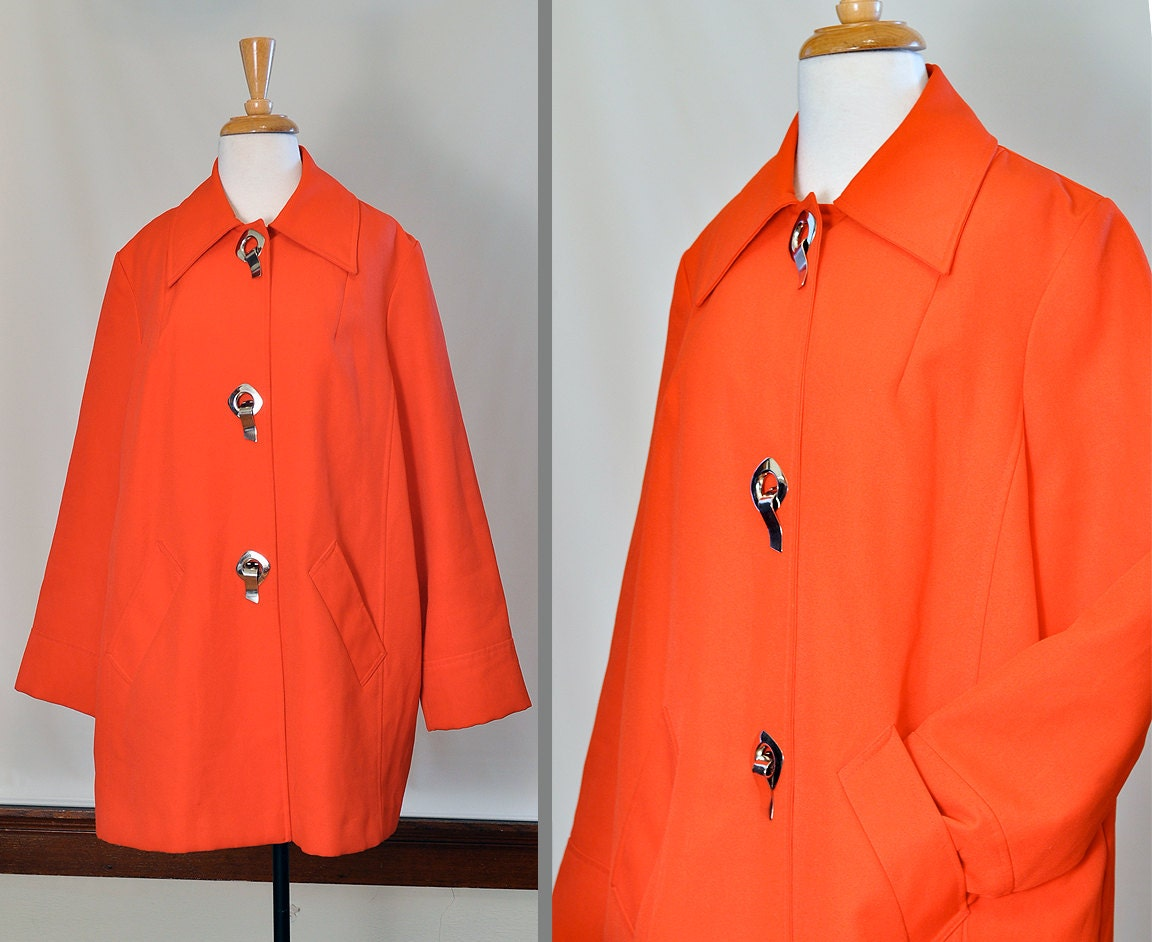 1960's Bright Red/ Orange Swing Style All Weather Coat