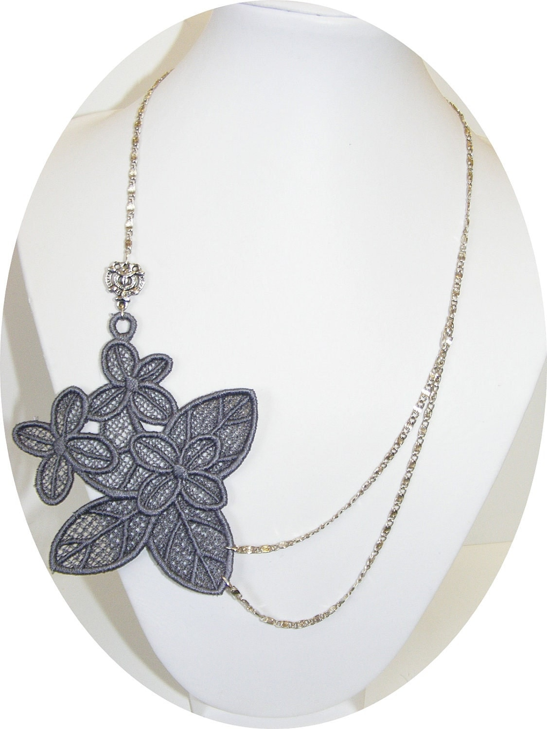 Clearance- Stunning medium grey embroidered lace necklace with art deco accents.
