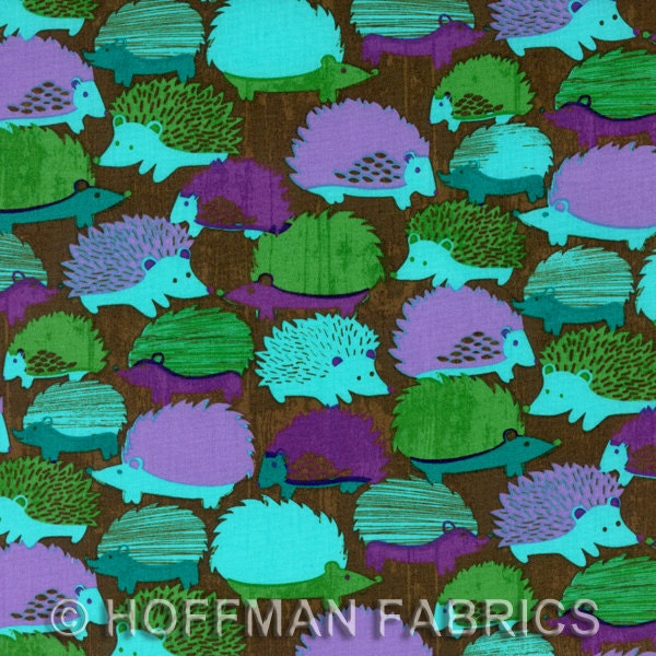 Woodlands Hedgehogs Cotton Fabric in Juniper from Hoffman Fabrics - 1 Yard - FabricFascination