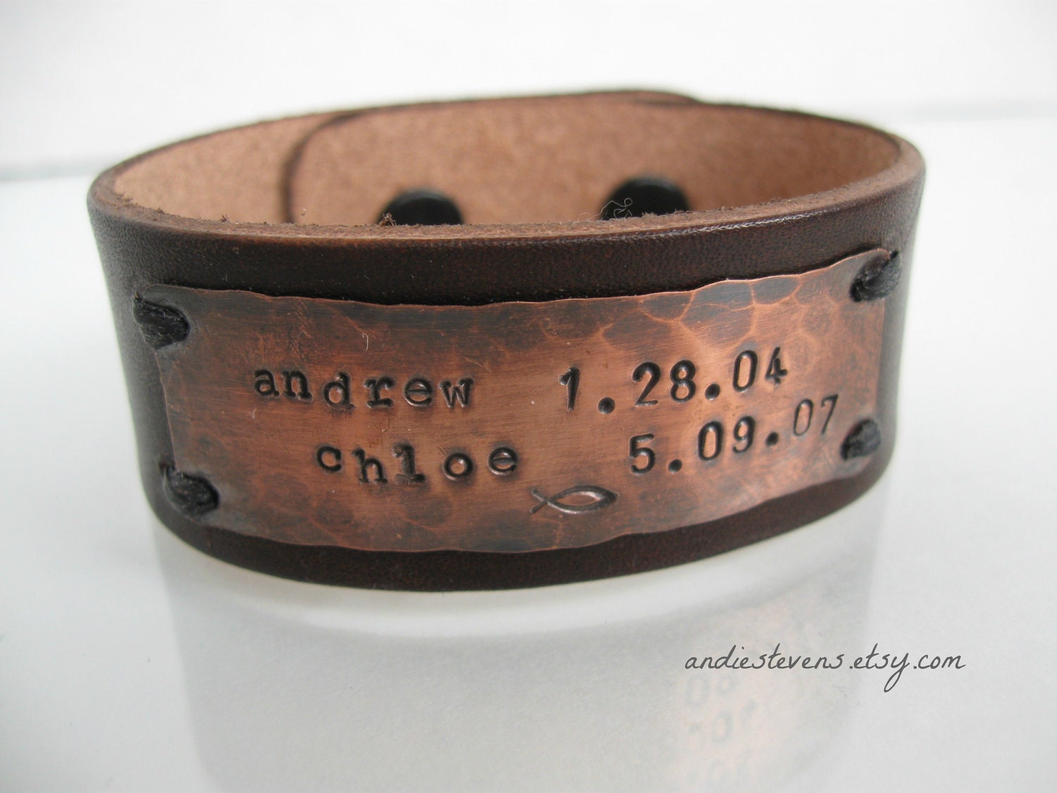 Leather and Rustic Copper Unisex Cuff Bracelet Fathers Day - andiestevensdesigns