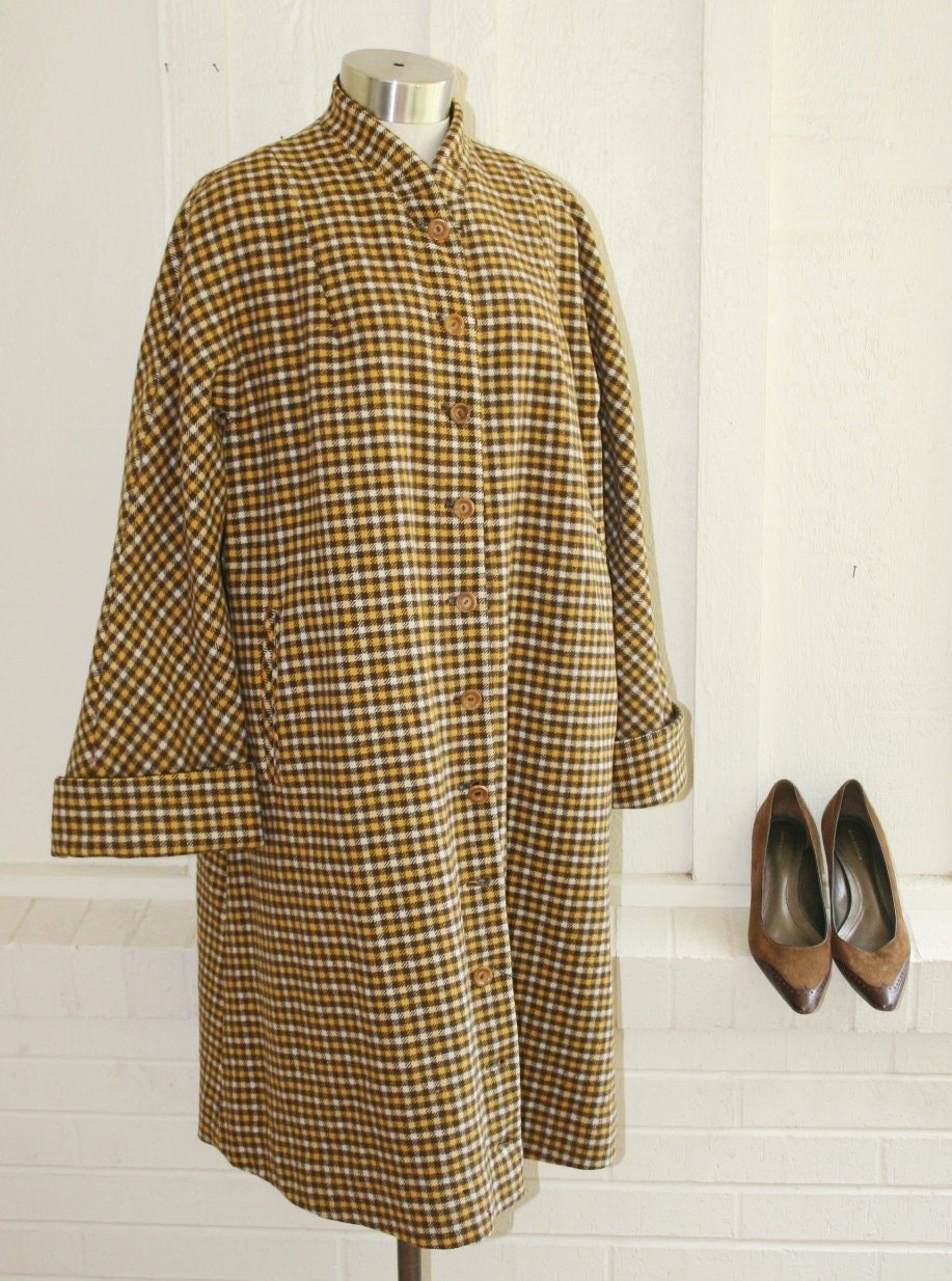 Reversable Swing Coat - Yellow and Brown Plaid - Brown - Circa 50's - CallMeChula