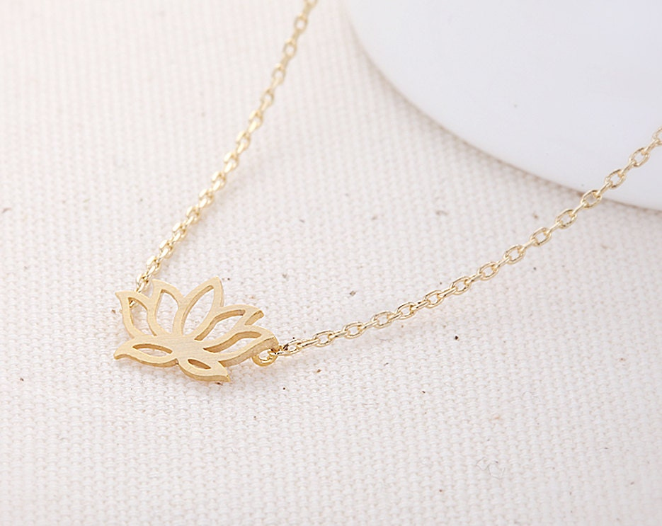 Lotus Flower Necklace - Gold // N062-GD // flower necklace,lotus pendant necklace,cute necklace,unique necklace,women necklace