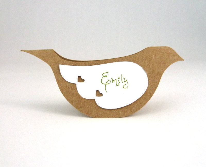 Bird Place Cards / Escort Cards - Rustic Country Kraft Paper Dove Table Tents - 20 Unique Blank Wedding Name Cards with removable wings