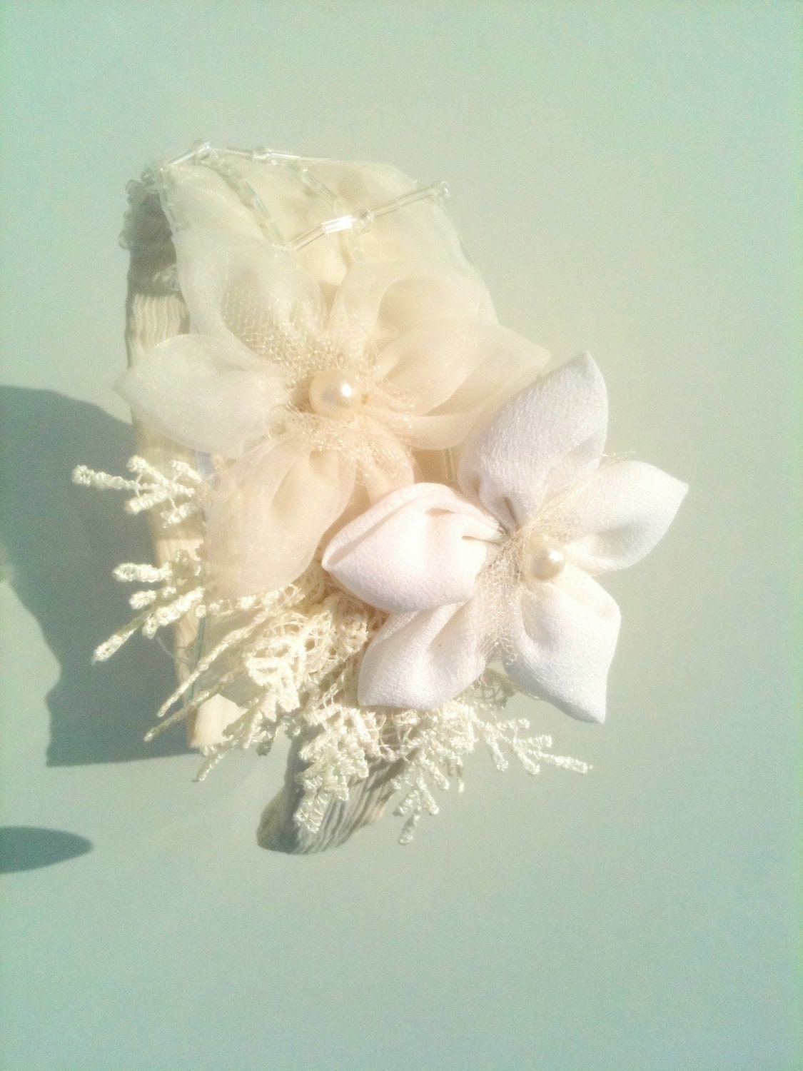 Ivory Lace Bridal Headband, Romantic Bridal Headpiece, Vintage Champagne Hair Flowers, Wedding Accessories,FREE SHIPPING - SparklyLittleStar