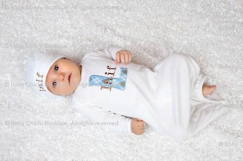 Baby Boy Onesie or Newborn Gown and Beanie Hat - Argyle Initial Applique - Newborn thru 12 months