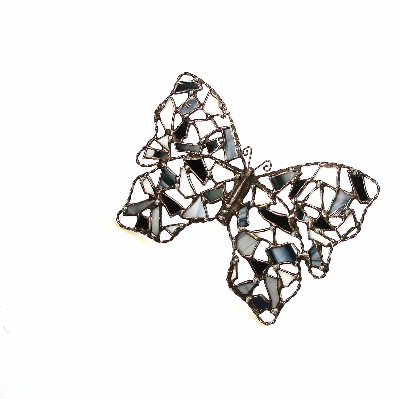 Butterfly Suncatcher, Stained Glass Butterfly Gray