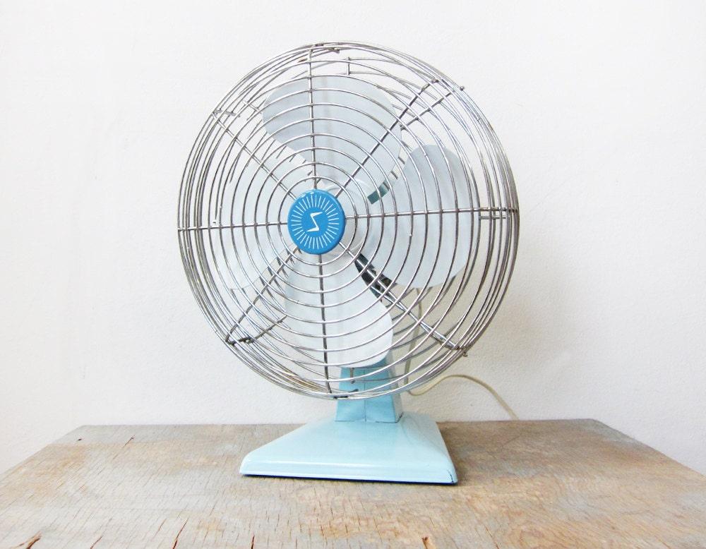 vintage 60s aqua blue fan / industrial metal superior electric fan / turquoise base fan - RustBeltThreads