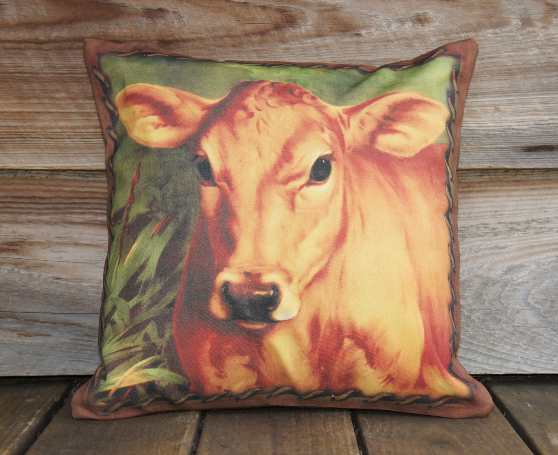Корова Чехол, хлопок и Burlap подушка, поля, Rustic, 16x16