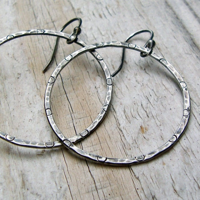 Sterling Silver Hammered Hoop Earrings - Oxidized Gray Rustic Patterned Antiqued - BeadinByTheSea