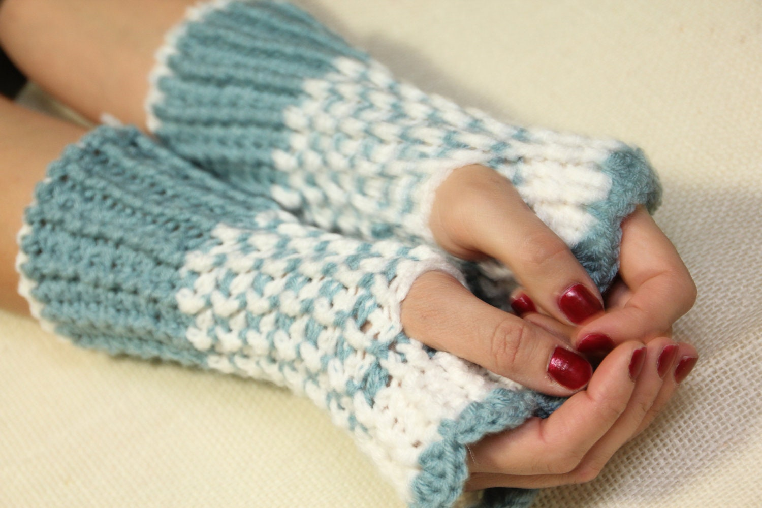 Fingerless gloves blue white gloves cozy gloves wool gloves - NaCasadeAnna