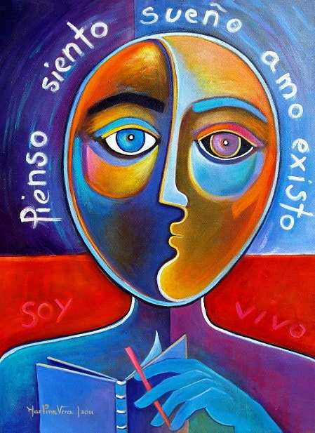 I Am, I Think, I Feel, I Dream, I Love, I Exist, I Live THE PHILOSOPHER Original Acrylic Contemporary Painting Marlina Vera  Pop Art
