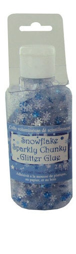 Glitter Glue Blue Snowflake Winter Holiday Craft Supplies