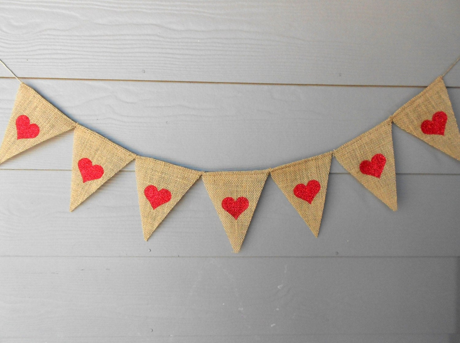 Heart Glitter Burlap Banner - Perfect for Weddings and Valentines Day
