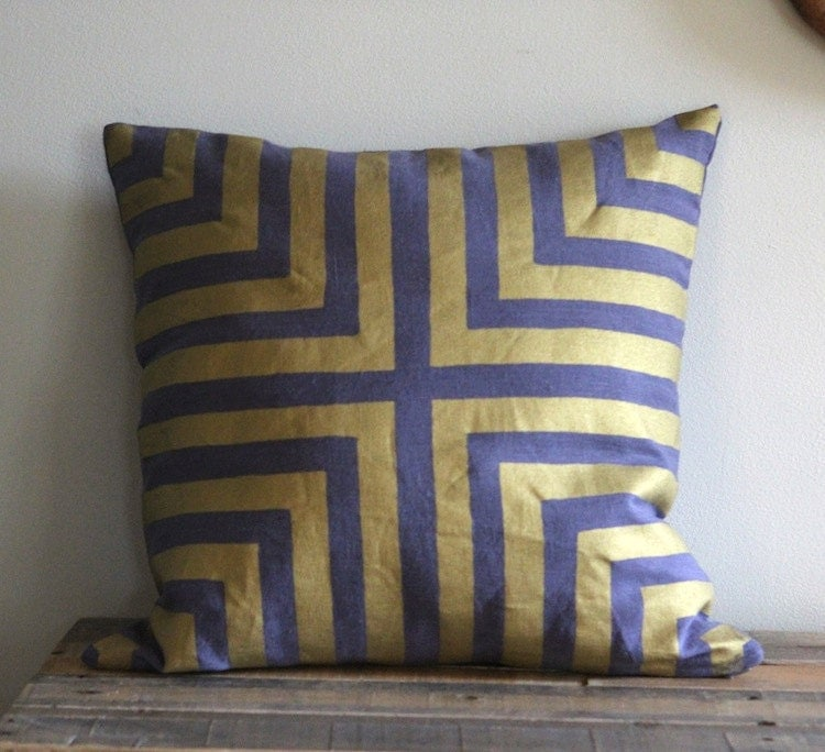 Metallic gold & slate blue handprinted organic hemp pillow cover 20x20