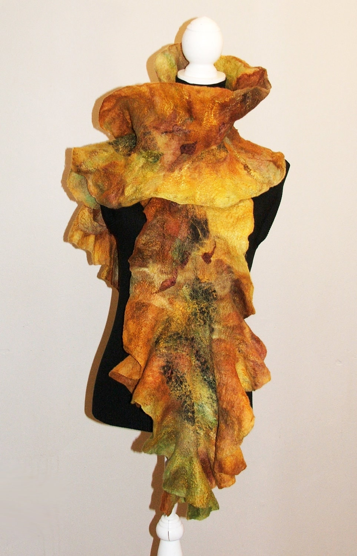 Nuno felted scarf ruffle collar Wool and Silk  Art to Wear Golden Autumn - beatassoul