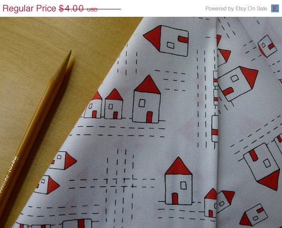 SALE Andover The Red Thread - Houses in White - HALF YARD - TactileFabrics