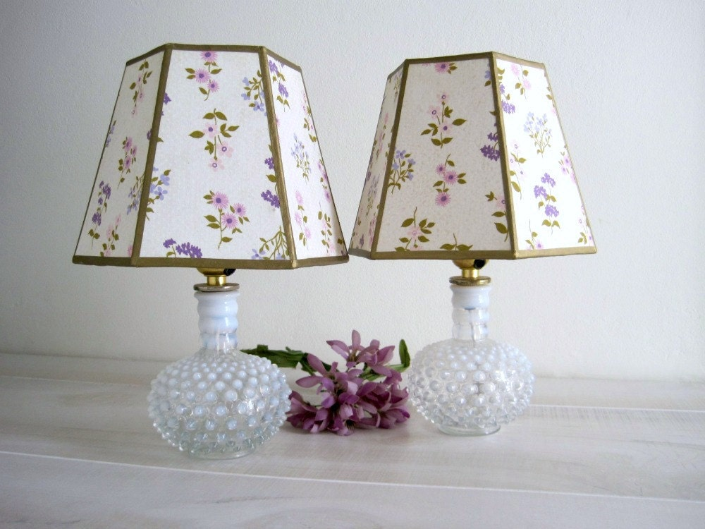 Vintage Hobnail Glass Lamps - Retro Feminine - GoldenDaysAntiques