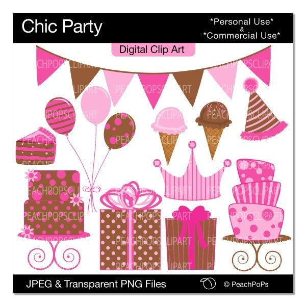 Chic Party digital clip art set 11 design elements modern chic