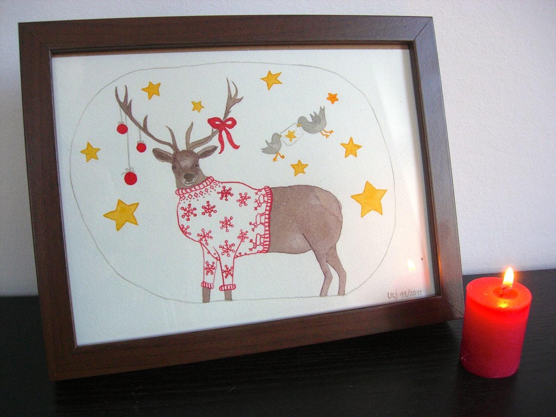 Original Ink Illustration 'Mr. Elk loves Christmas'