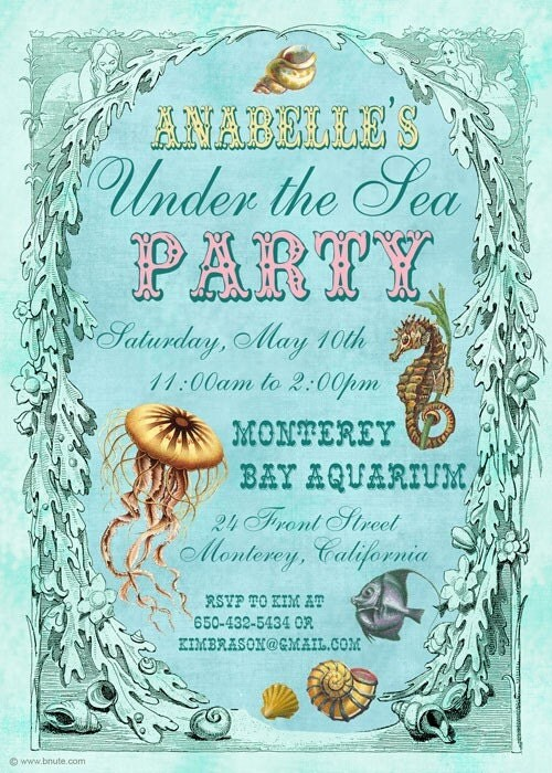 Under the Sea Party Invitation, Birthday, Baby Shower, Bridal Shower, Any Occasion