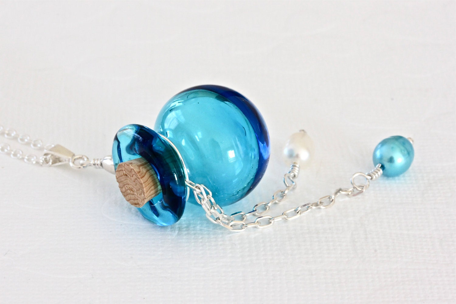 Glass Pendant Necklace, Blue Perfume Bottle Necklace, Murano Glass Jewelry - ThePassionatePearl