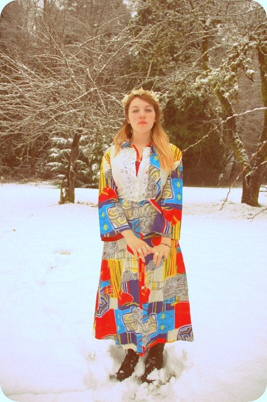 Vintage 1960s Psychedelic Nordic Hippie Primary Colored Gown