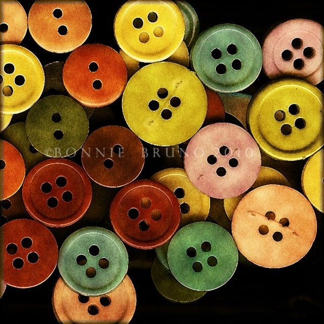 Colorful Buttons Fine Art Metallic Photo Print 12x12