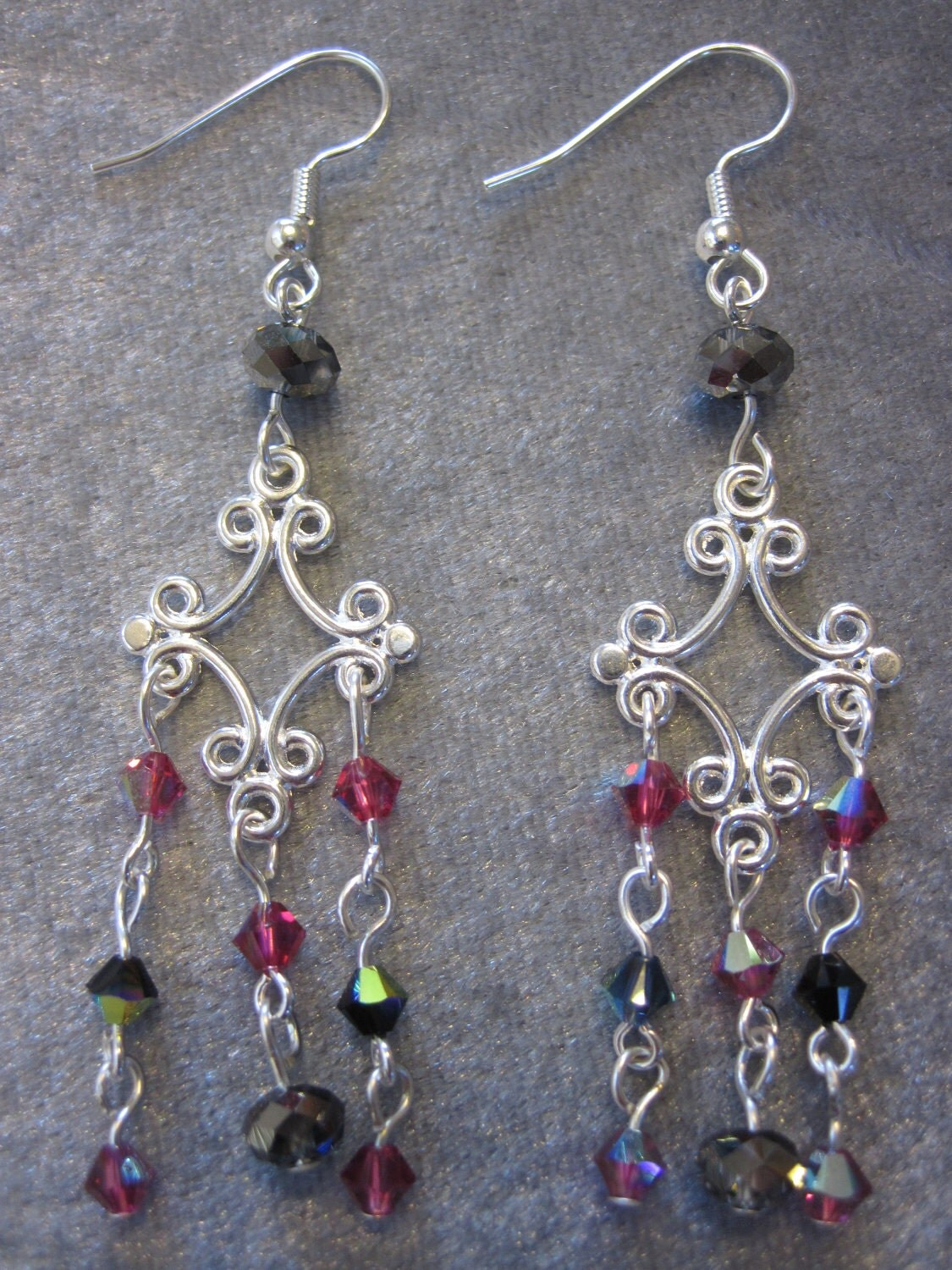 Romantic Stroll-Swarovski crystal and rondelle chandelier earrings