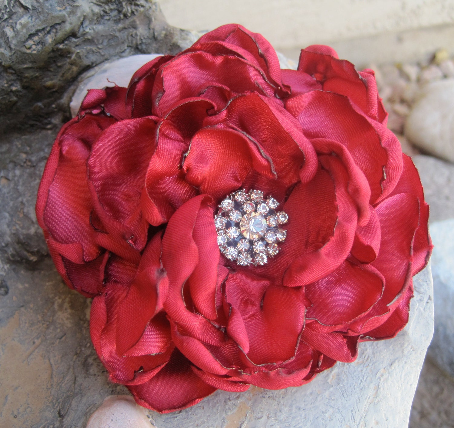 Red Satin  Bridal Wedding  Flower Fascinator Hair Clip Brooch with Beautiful  Rhinestone Accent - theraggedyrose
