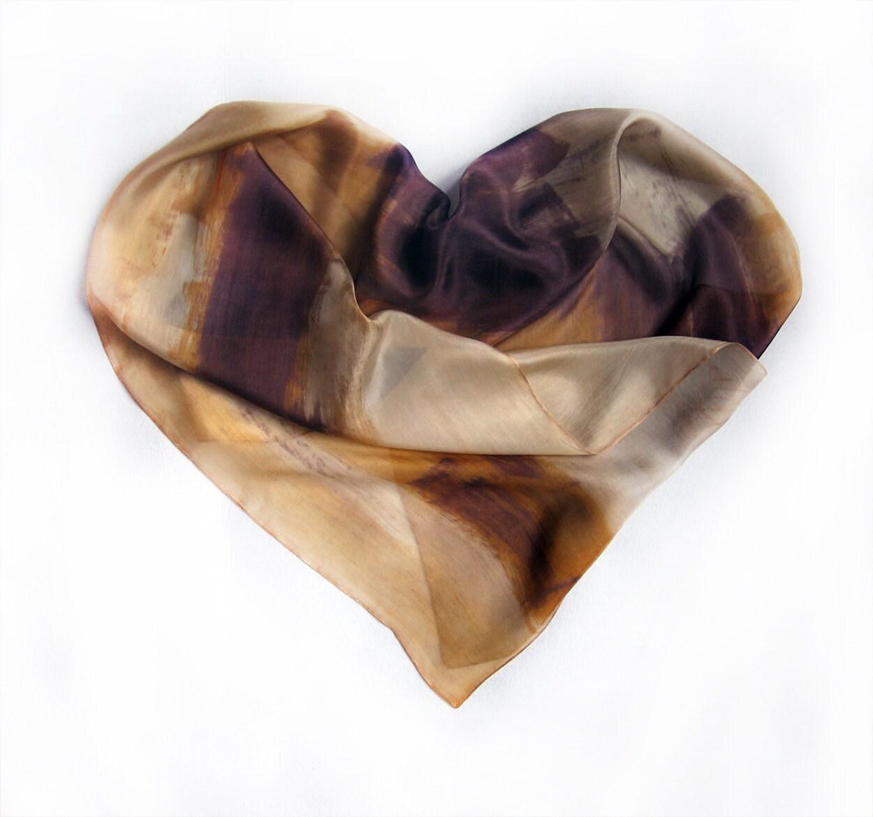 Hand painted silk scarf. Sands and Chocolate scarf. Heart silk scarf. Painting on silk by Dimo Balev OOAK - klaradar