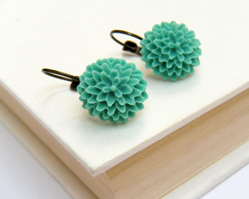 Seafoam Green Floral Antique Bronze Earrings, Vintage Inspired Earrings - Seafoam Mum Earrings - merryalchemy