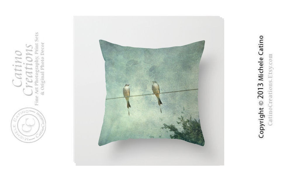Two Yellow Birds on Wire Pillow Scissor Tailed Birds Pillow Cover Blue Green Sky Clouds Bird on Wire Throw Pillow Cover 16x16