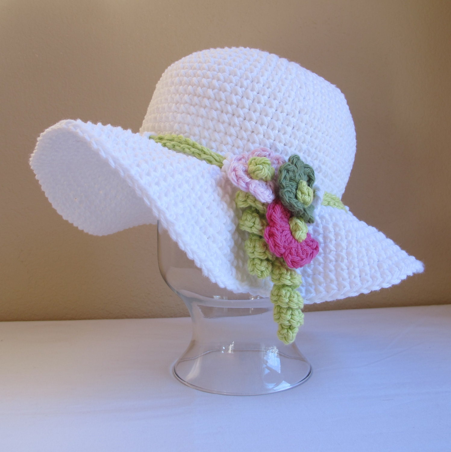 CROCHET PATTERN - Spring Garden - a spring/summer hat with flowers in 6 sizes (Infant - Adult S)