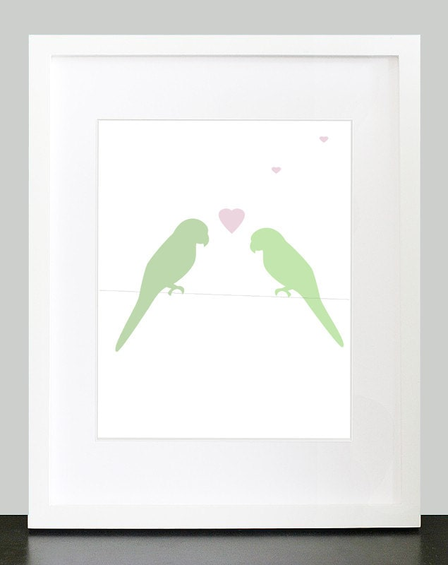 Sweet Love Birds Valentines Day Modern Art Print with Heart - 8x10 Mint Green & Light Pink - PlayOnWordsArt