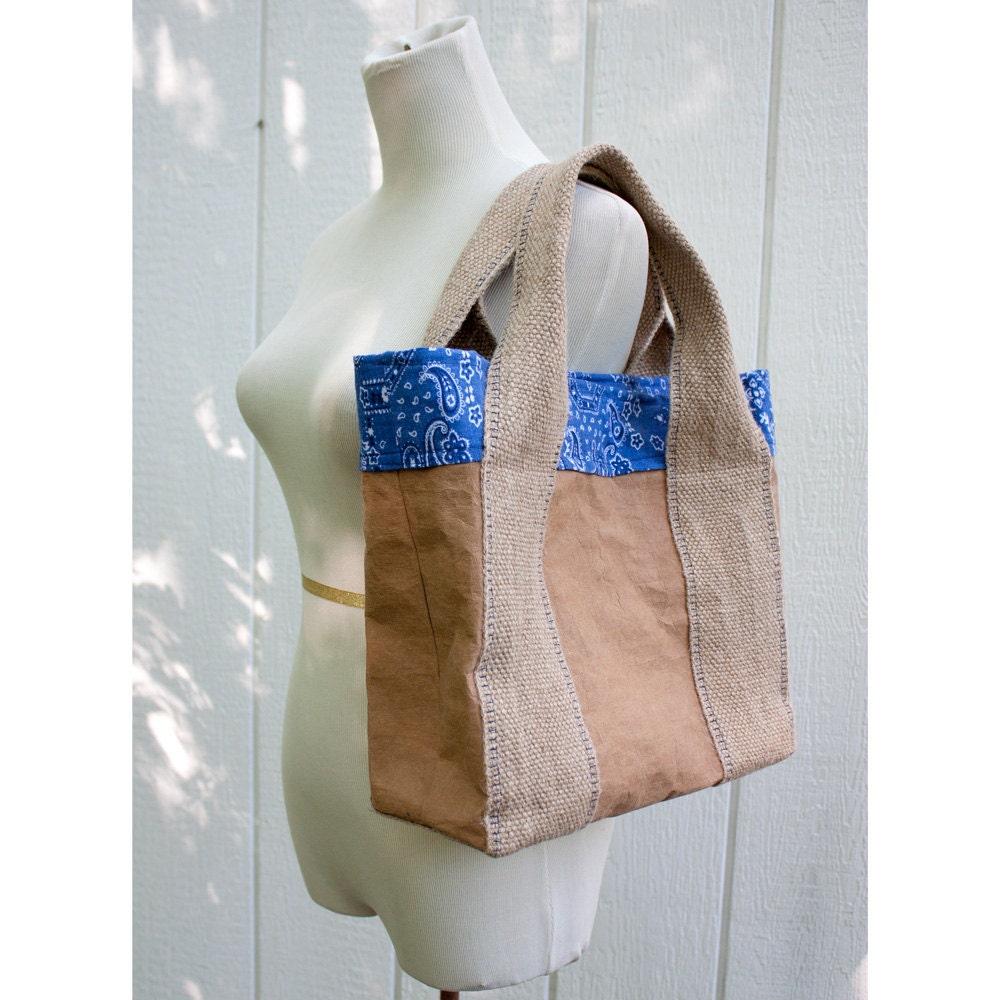 Paper Bag Tote Bag with Blue Bandana Lining - HuzzahHandmade
