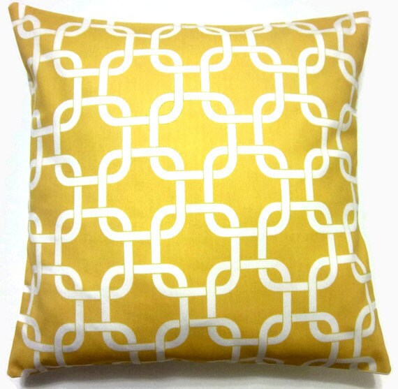 Two Yellow White Pillow Covers Decorative by LynnesThisandThat
