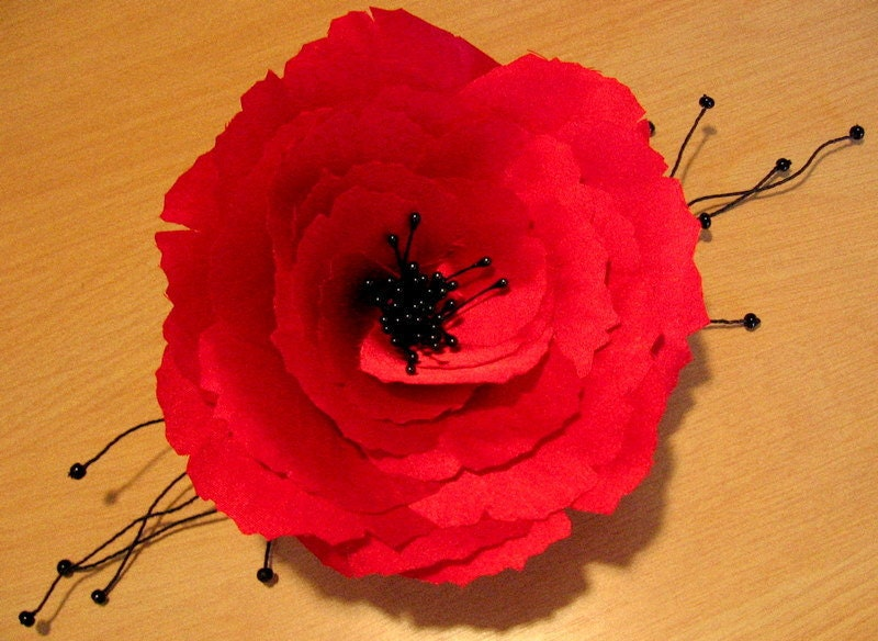 Red Silk Poppy hair pin or brooch