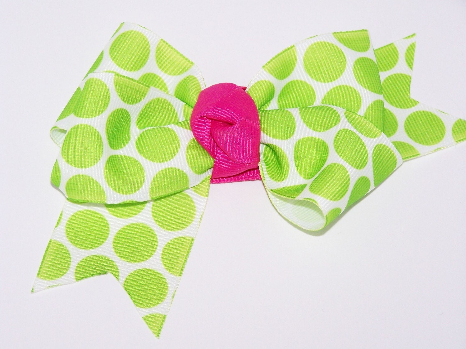 Lime Green Polka Dot Bow, Infant, Toddler, Teen or Adult