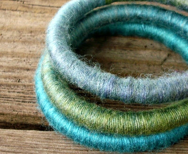 CIJ 10% Off - Bangle Bracelets - Yarn Bracelets - Yarn Wrapped Soft Fibre Bracelets in Beach Glass Aqua Blue Green - - Ready To Ship - pixiebell