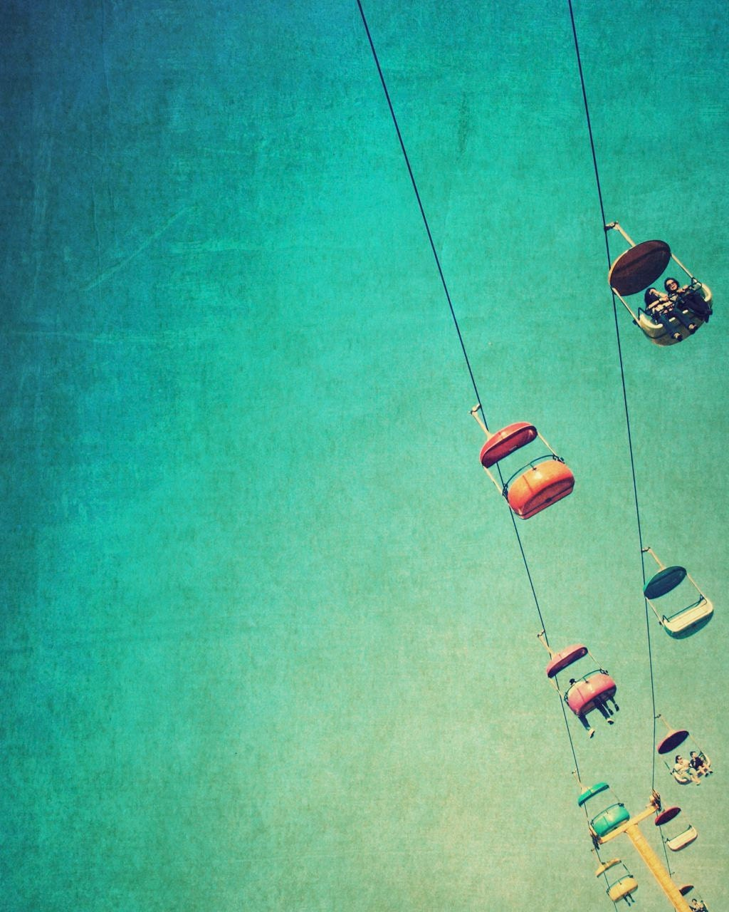Carnival photo, Santa Cruz, teal, aqua, orange, pink, yellow, spring colors, retro, vintage style - SkyGlider II, 8x10 art - SeptemberWren