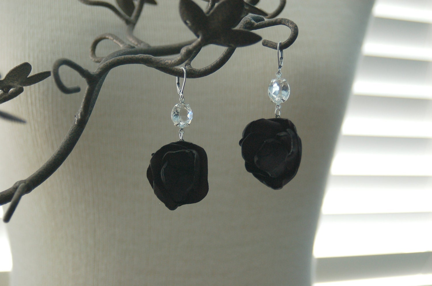 Vintage Flower Earrings - Crystal Clear Vintage Stones and Handmade Satin Fabric Flowers